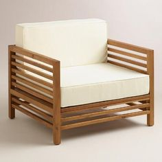 modern patio furniture adds such a relaxing lounge vibe to any outdoor space! I love the resort feel of wood praiano outdoor occasional chair. Affordable Outdoor Furniture, Affordable Home Decor, Outdoor Furniture Sets, Rustic Furniture, Modern Furniture, Furniture Design, White Cushions, Chair Cushions, Chair Fabric