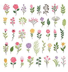 floral collection with leaves and flowers vector 4382598 - by Lenlis on., Colorful floral collection with leaves and flowers vector 4382598 - by Lenlis on. Watercolor Flowers, Watercolor Art, Drawing Flowers, Painting Flowers, Simple Flower Painting, Flower Drawings, How To Paint Flowers, Cute Flower Drawing, Flower Pattern Drawing