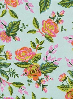 Rifle Paper Co. Rayon Jardin de Paris Mint floral apparel fabric from Cottom + Steel Fabrics by Anna Bond of Rifle Paper Co. Dress Fabric Blouse Fabric Gown Fabric