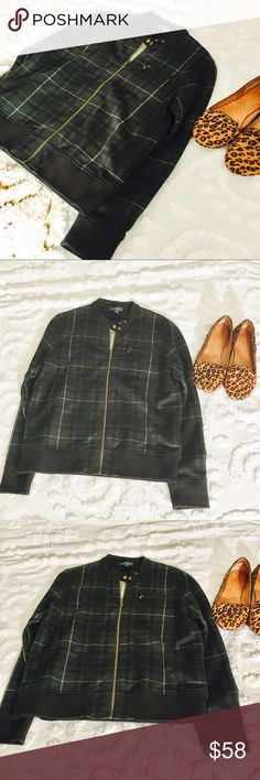 "Ralph Lauren Black watch Plaid Bomber Jacket Super cute and stylish green bomber sweater jacket in excellent condition. The bust measures 20.5"" lying flat from armpit to armpit. The length is 23.5"" Ralph Lauren Sweaters"