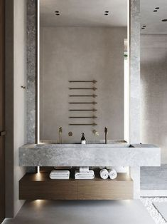 Concrete bathroom The Effective Pictures We Offer You About copper Bathroom Fixtures A quality pictu Bad Inspiration, Bathroom Inspiration, Interior Inspiration, Bathroom Design Luxury, Bathroom Designs, Bathroom Ideas, Bathroom Organization, Bathroom Furniture, Minimalist Bathroom Design