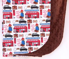 Paddington Bear Blanket London Red Bus Brown Soft by JoyfulBundles