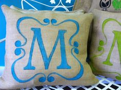 Porch pillows that look easy to stencil. Bright and personalized.  #porchpillows #monogram #initial #porch  From etsy.com