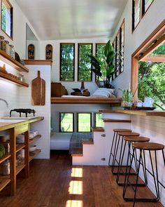 We absolutely love this tiny house design! Tag a fellow tiny house lover! Tiny House Loft, Modern Tiny House, Tiny House Living, Tiny House Plans, Tiny House Design, Design Your Own House, Best House Designs, Living Room, Cabin With Loft