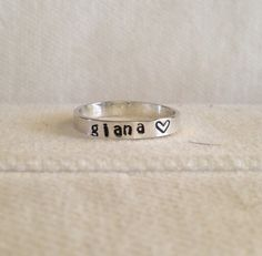 Sterling Silver Personalized Ring Band.  Custom.  Fun.  Message.  Eco Friendly.  Recycled Silver.  FREE Shipping. $22.00, via Etsy.