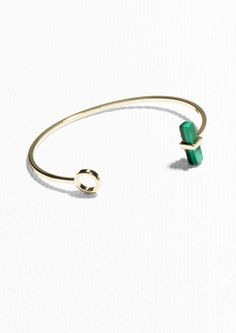 & Other Stories Marble Gem Stone Cuff in Green