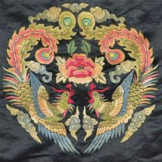 A pair of phoenixes, traditional Chinese embroidery