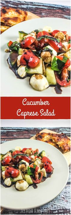 Want something fresh and flavorful, but easy to make for dinner? Have some Cucumber Caprese Salad with Balsamic Vinegar Reduction to go with your Freschetta® Pizza! Dinner can be easy to make but so flavorful! {Post #Sponsored by Freschetta #FreschEats}