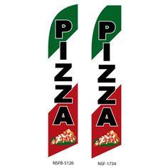 Pizza restaurant swooper flag sign banner RED WHITE GREEN