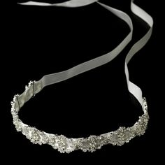 Modern Vintage Crystal Bridal Ribbon Headband HP 6471