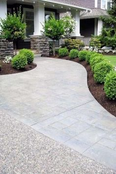 Interesting And Minimalist Garden Design Ideas. Below are the And Minimalist Garden Design Ideas Front Walkway Landscaping, Front Yard Walkway, Cheap Landscaping Ideas, Backyard Landscaping, Front Yards, Walkway Ideas, Front Garden Ideas Driveway, Modern Driveway, Landscaping Borders