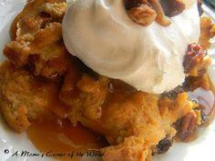 A Mama's Corner of the World: Thanksgiving Dessert Recipe: Pumpkin Bread Pudding with Butter Rum Sauce