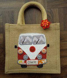 Jute personalised campervan bag medium size by JENNYEDDENDESIGNS                                                                                                                                                                                 More