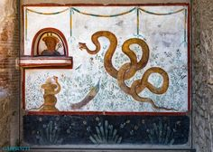 POMPEII-House of the Cryptoporticus-A lararium (religious shrine), consisting of a frescoed image of Hermes in top left corner, with a colorful snake and peacock completing the scene. Colorful Snakes, Roman Gods, Genius Loci, Pompeii And Herculaneum, Roman History, Archaeological Site, Ancient Rome, Neon Signs, Antiques