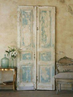 Rustic doors as a wall feature