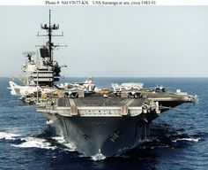 USS Saratoga (CV/CVA/CVB-60), was one of four Forrestal- class supercarriers built for the US Navy in the 1950s. Saratoga was the sixth US Navy ship, and the second aircraft carrier, to be named for the Battle of Saratoga in the American Revolutionary War.  Commissioned in 1956, she spent most of her career in the Mediterranean, but also participated in the Vietnam War. One of her last operational duties was to participate in Operation Desert Storm.  Saratoga was decommissioned in 1994.
