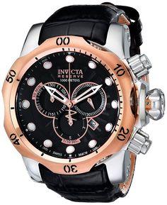 Invicta 0360 - Reloj cronógrafo de caballero de cuarzo con correa de piel negra