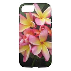 Pink and Yellow Tropical Plumeria Flowers iPhone 7 Case