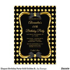 Shop Elegant Birthday Party Gold Golden Black Spot Invitation created by Zizzago. Elegant Birthday Party, Adult Birthday Party, Albert Park Lake, Black Spot, Birthday Party Invitations, White Envelopes, Paper Design, Custom Invitations, Party Supplies