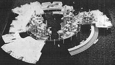 The Marine City projects by Kiyonori Kikutake designed in 1958 are the first proposals to build 'Megastructures' into the sea after the dissolution of CIAM. Futuristic Architecture, Contemporary Architecture, Architecture Models, Captador Solar, Metabolist, Marine City, Rendering Drawing, Cities, Plan Sketch