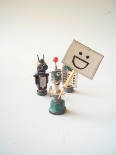 tiny robots made from found objects   :D  #random #reuse #repurpose #recycle #tiny #robots