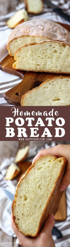 This homemade potato bread is light, fluffy and stays soft for several days. It's a foolproof bread recipe that contains no eggs, milk or butter. #homemade #potatobread #mashedpotato #bakingbread #breadrecipe #rustic #oldfashioned #howtomake via @happyfoodstube