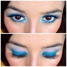 Bold blue and lilac eye makeup