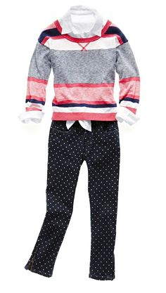 arizona girls' 3/4-sleeve sweater, tie-front top, and dot ankle jeans