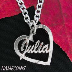 Name Necklace in Heart, Custom Jewelry Quarter, hand cut coin – NameCoins