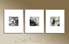 Set of 3 Black White Original Abstract Acrylic Painting on