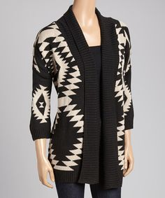 Another great find on #zulily! Black & White Tribal Open Cardigan by Allie & Rob #zulilyfinds
