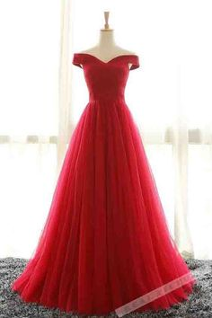 Red tulle prom dress, ball gown, elegant off shoulder dress for prom 2017