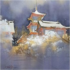 """""""Kiyomizu in Snow,"""" by Thomas W. Schaller Watercolor ~ 16 inches x 16 inches"""