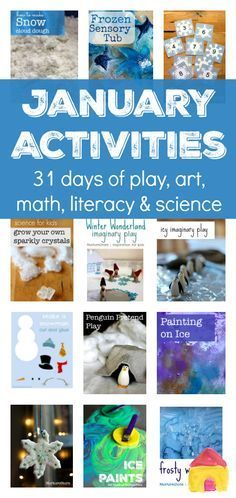 A whole month of seasonal activities for January :: winter arts and crafts :: snow and ice sensory play :: winter themed centers for winter math, literacy and science. So useful! #ArtsandCraftsProjects