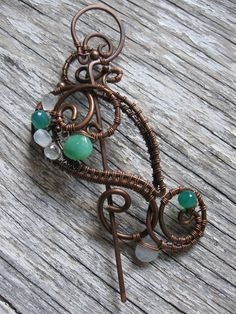 Wire wrapped copper shawl brooch pin with pearls Blue patina Plant brooch Summer brooch