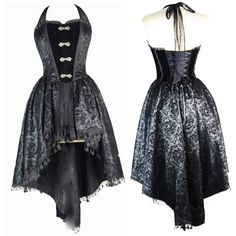 Entranced Flocked Taffeta Fishtail Corset Dress ($86) ❤ liked on Polyvore featuring dresses, fishtail dress, taffeta cocktail dress, skull print dress, corset dress and goth dress