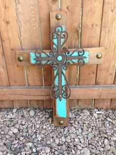 Large Turquoise Rustic Wood Cross
