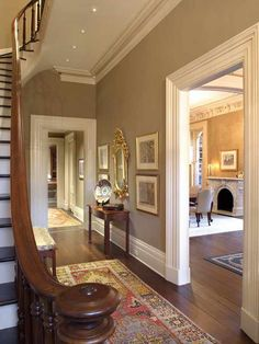 """New Homes A Interior Design Community Board How to Add """"Old House"""" Character & Charm to Your Newer Home Step 5 - Beneath My Heart . Character Home, Foyer Decorating, Old House Decorating, Decorating Ideas, Decor Ideas, Living Room Paint, Living Rooms, Historic Homes, Home Renovation"""