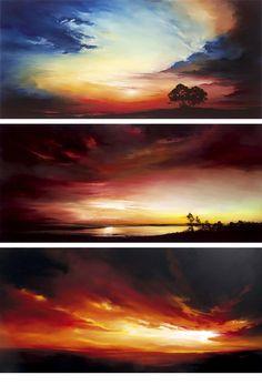paintings by Richard Rowan :: Painting oil on glass ( http://www.castlegalleries.com/artists/richard_rowan/profile.asp ) #OilPaintingSunset