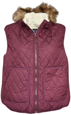 5b39123370 Pulse Womens Plus Extended Size Bleeker Insulated Sherpa Vest Wine 1X-6X