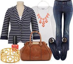 Stripes Black, White, Navy Blue, Coral, Brown Outfit  - Plus Size - Polyvore