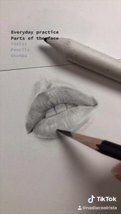 Drawing of lips by Nadia Coolrista. Freehand sketching - My CMS Cool Art Drawings, Pencil Art Drawings, Art Drawings Sketches, Realistic Drawings, Drawings Of Lips, Drawing Eyebrows, Pencil Sketch Drawing, Art Du Croquis, Drawing Tips