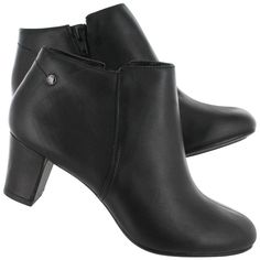 Hush Puppies Women's CORIE IMAGERY black leather dress booties 05138-001