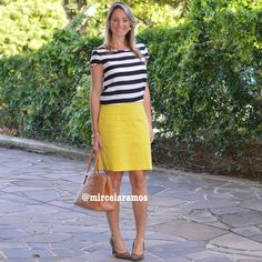 Look de trabalho - look do dia - look corporativo - moda no trabalho - work outfit - office outfit -  spring outfit - look executiva - saia lápis amarela - yellow pencil skirt - listras - stripe - animal print - leopardo - scarpin