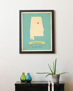 Alabama Roots Map Customized Print