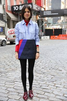 fall turtleneck button down quilted mini skirt man repeller
