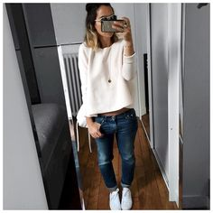 Look en Entier #latergram • Knit #maje (on sale on @majeofficiel) • Jean #celine (old) • Leather Sneakers #converse (on @converse) ...