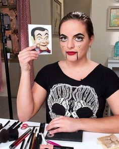 Casey Holmes is awesomely creepy as Slappy the Dummy from #Goosebumps. Want to recreate this crazy look for #Halloween? Click to check out the video tutorial.
