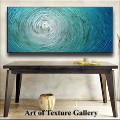 Abstract Heavy Texture Blue Silver White Aqua Water Carved Oil Painting by Je Hlobik