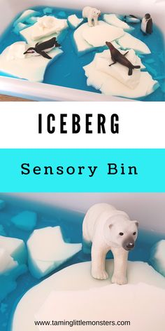 Iceberg Sensory Bin for Winter. Add this taste safe iceberg to your list of winter sensory activities. Babies, toddlers and preschoolers will love watching them jiggle, melt and float around on the blue water. #winter #sensory #babies #toddlers #preschoolers Sensory Bins, Sensory Activities, Sensory Play, White Jello, Penguins And Polar Bears, Polar Animals, Winter Activities For Kids, Blue Food Coloring, Toddler Preschool